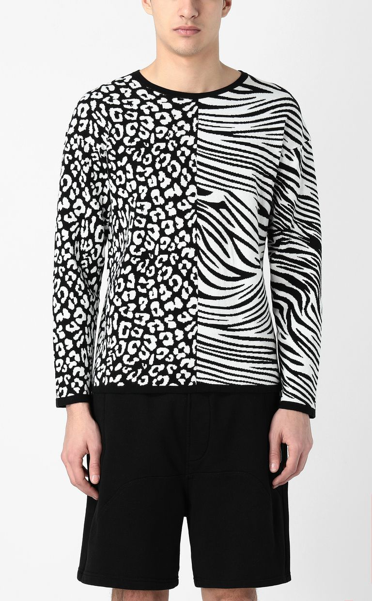 JUST CAVALLI Pullover with animal patterning Crewneck sweater Man r