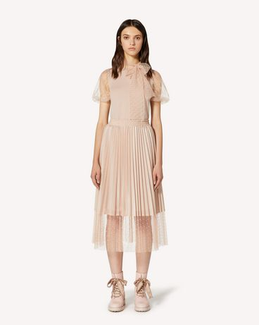 REDValentino Wool knit and tulle point d'esprit top