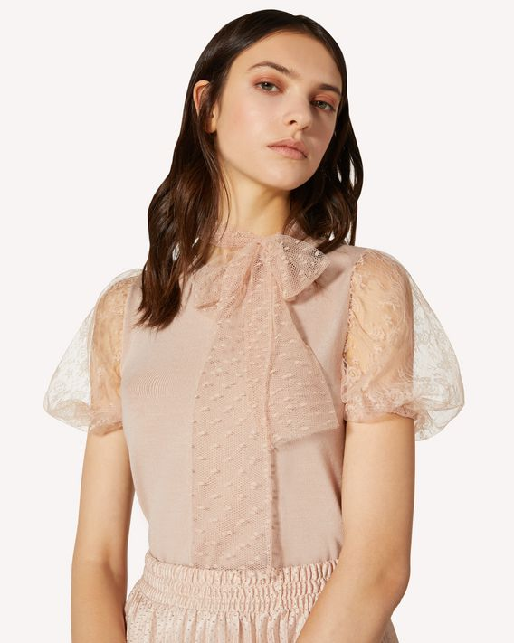 REDValentino Wool and tulle point d'esprit knit top