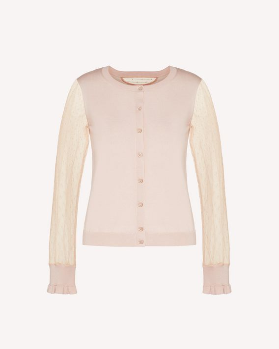 REDValentino Cashmere, silk and point d'esprit tulle  cardigan