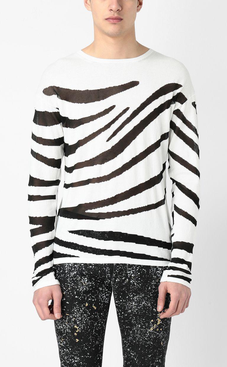JUST CAVALLI Zebra-stripe pullover Sweater Man r