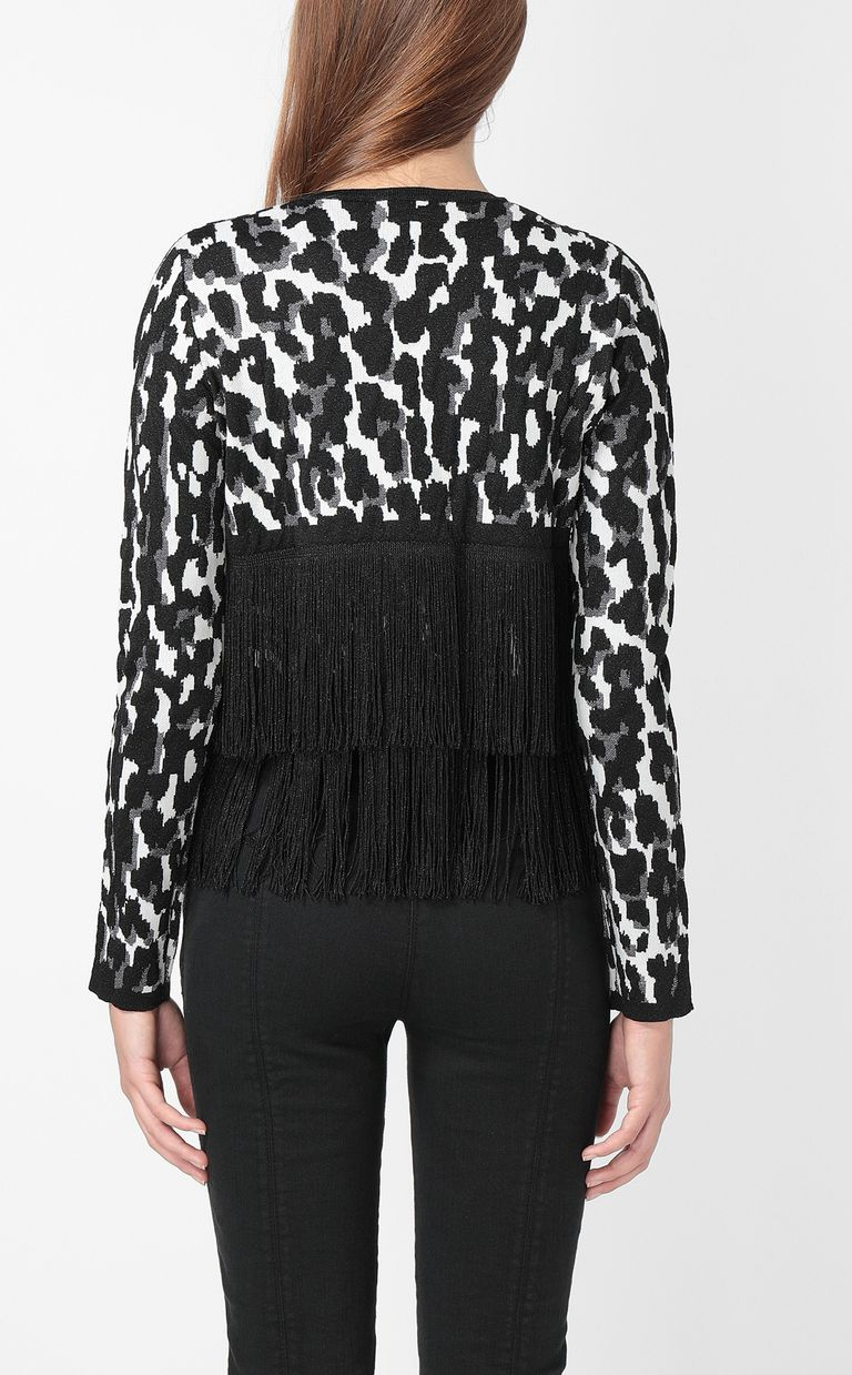 JUST CAVALLI Leopard-spot cardigan with fringe Sweater Woman a