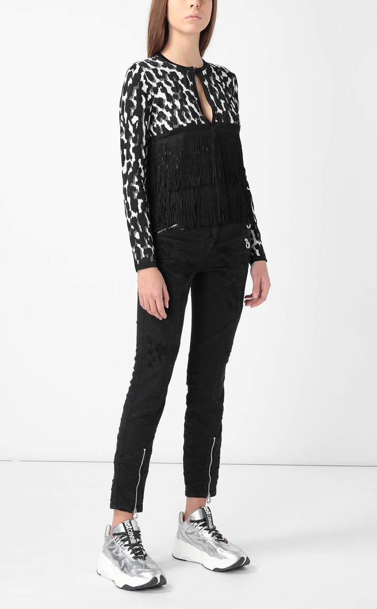 JUST CAVALLI Leopard-spot cardigan with fringe Sweater Woman d