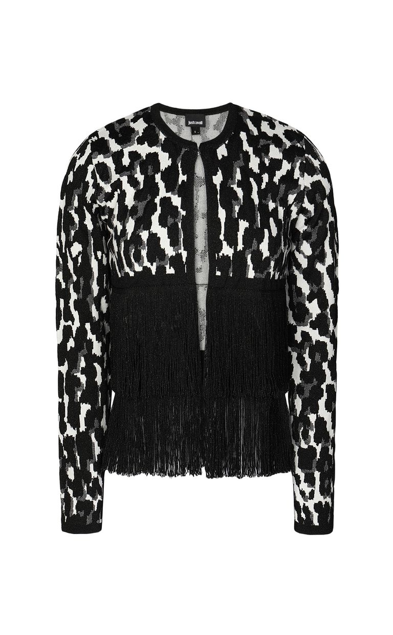 JUST CAVALLI Leopard-spot cardigan with fringe Sweater Woman f