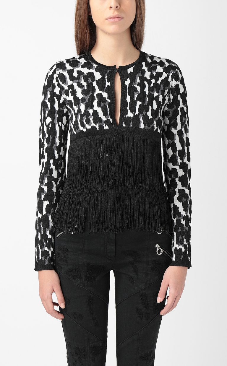 JUST CAVALLI Leopard-spot cardigan with fringe Sweater Woman r