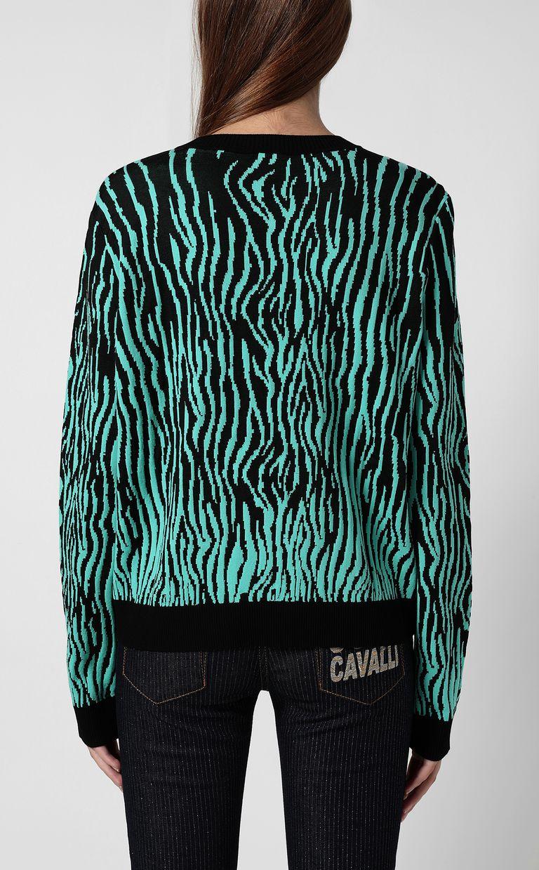 "JUST CAVALLI ""Robotic Zebra"" print pullover Crewneck sweater Woman a"