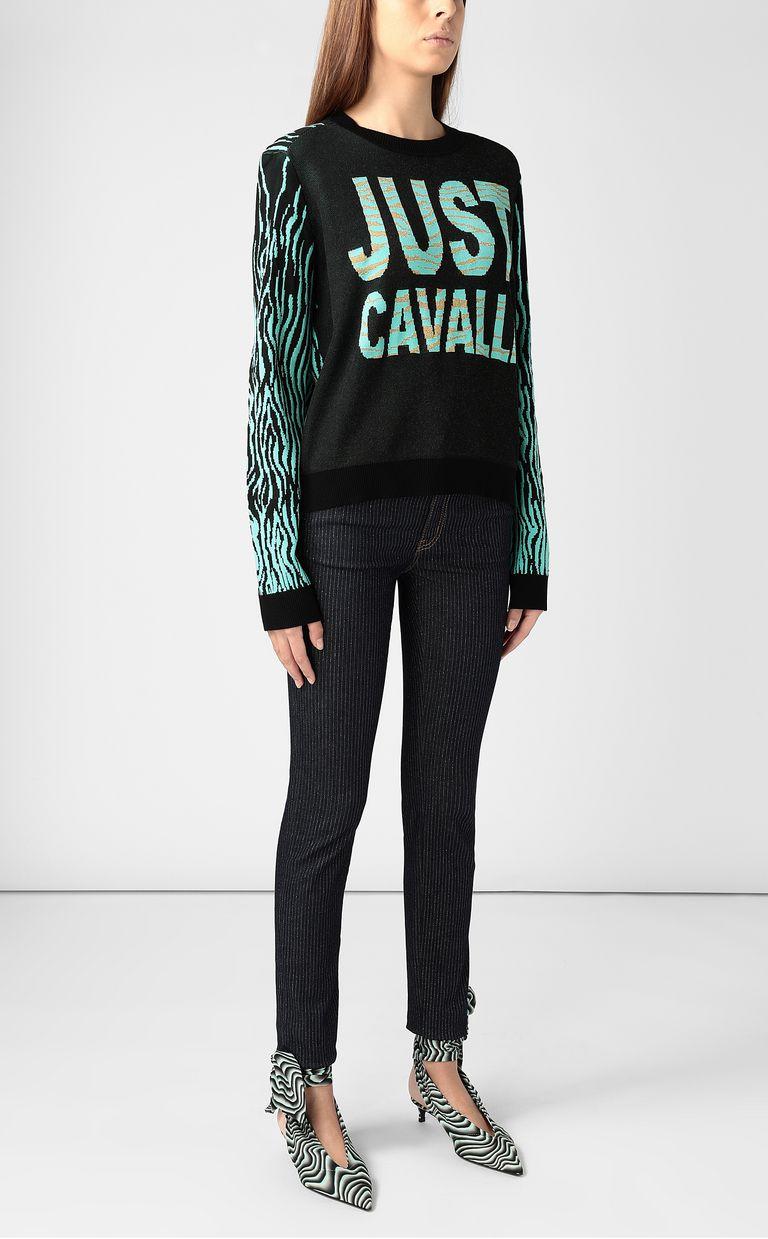 "JUST CAVALLI ""Robotic Zebra"" print pullover Crewneck sweater Woman d"