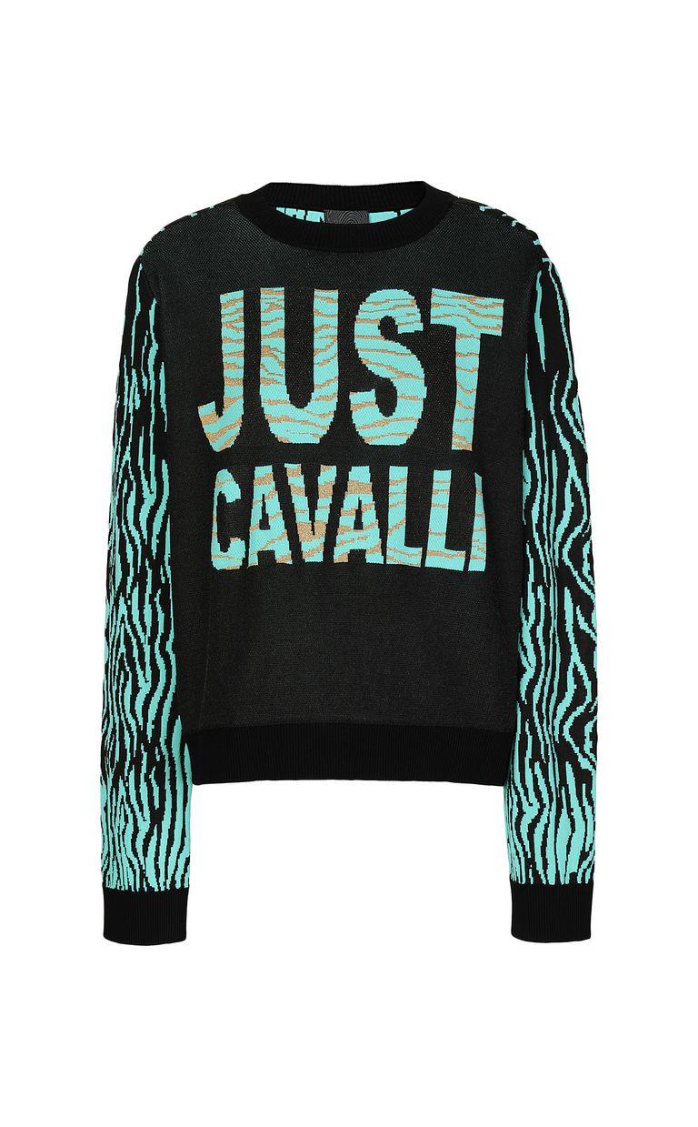 "JUST CAVALLI ""Robotic Zebra"" print pullover Crewneck sweater Woman f"