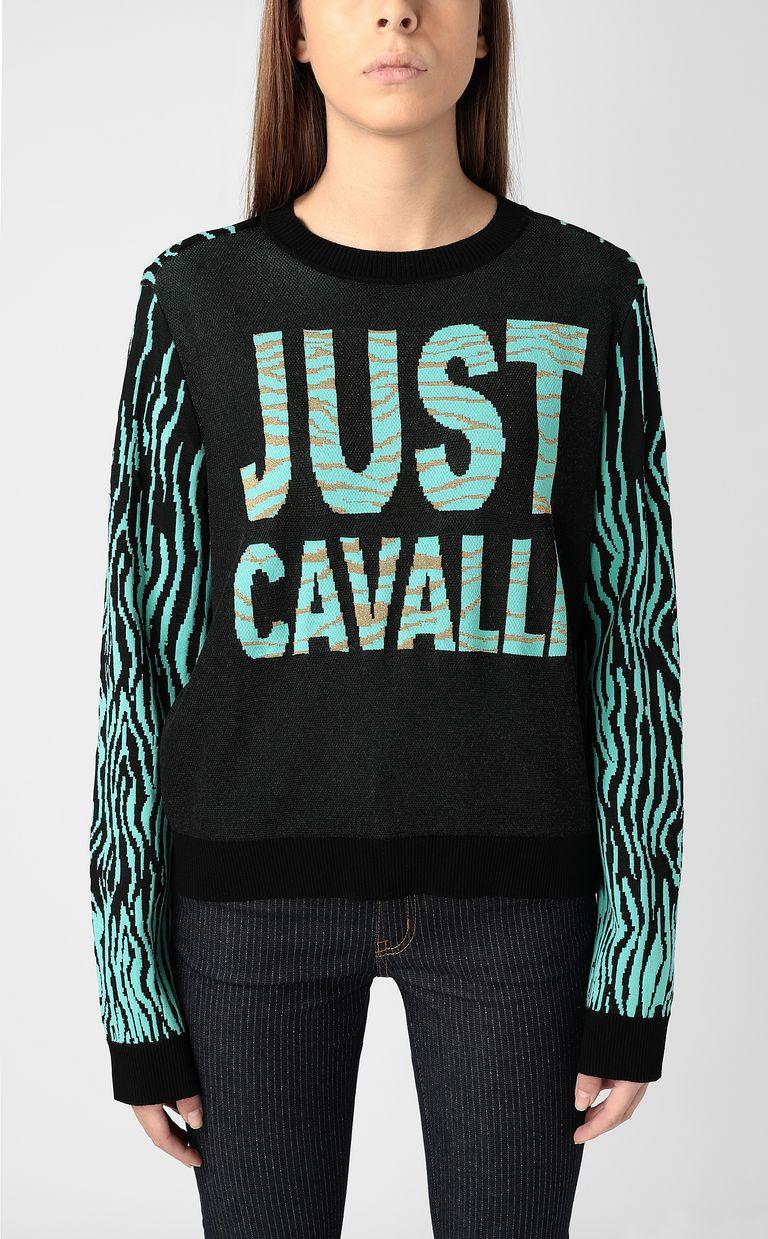 "JUST CAVALLI ""Robotic Zebra"" print pullover Crewneck sweater Woman r"
