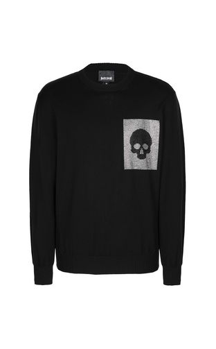 JUST CAVALLI Crewneck Man Pullover with skull f