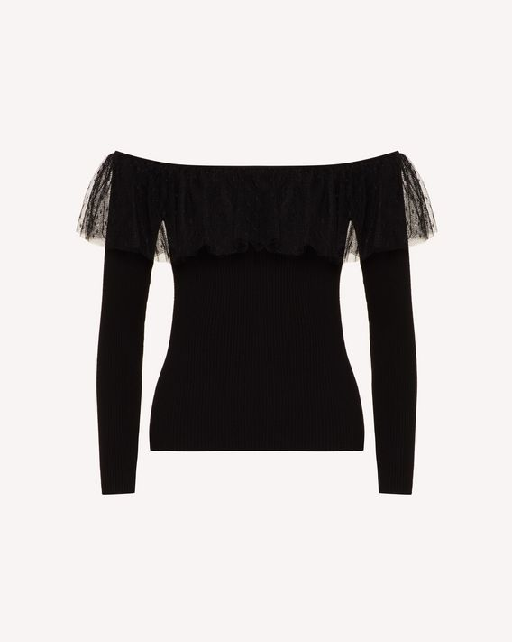 REDValentino Stretch viscose and point d'esprit tulle sweater