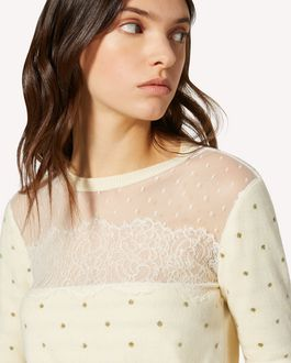 REDValentino Glitter polka dot wool sweater