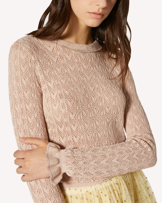 REDValentino Cotton lurex sweater with openwork embroidery