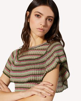 REDValentino Striped lurex sweater with flounce