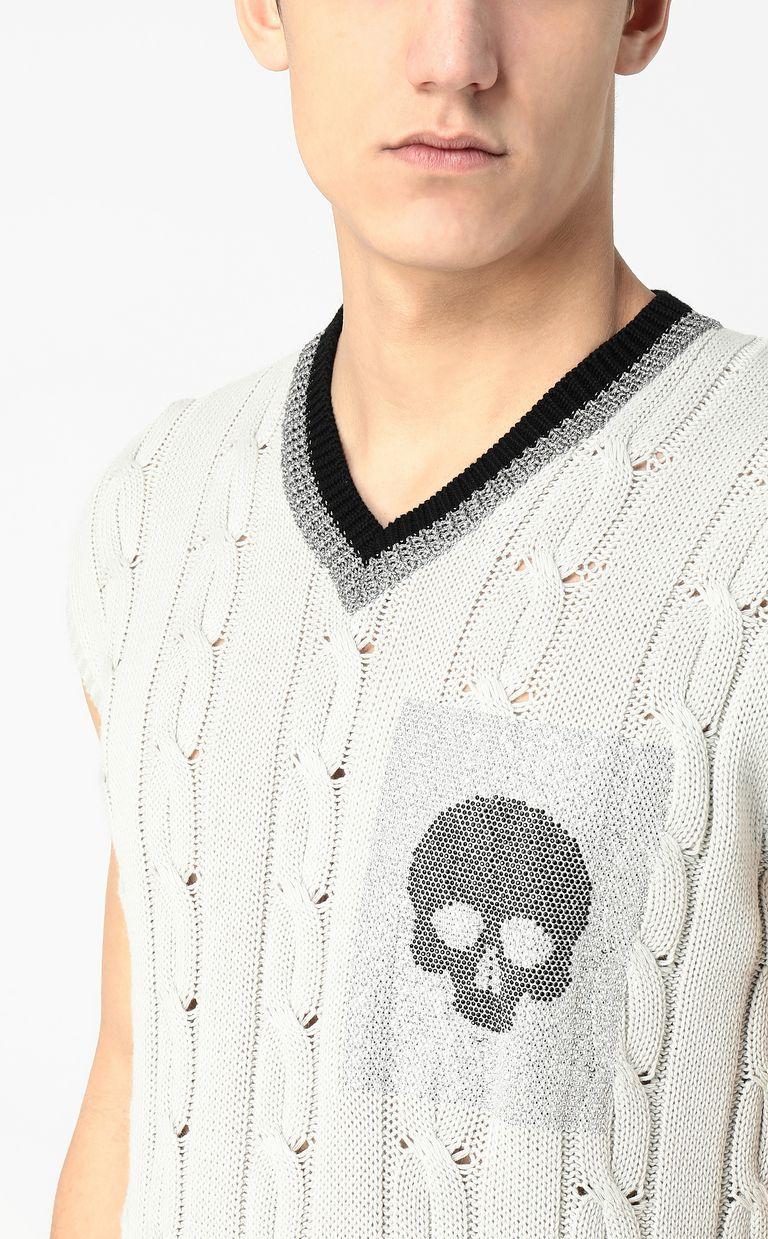 JUST CAVALLI Pullover with skull V-neck Man e