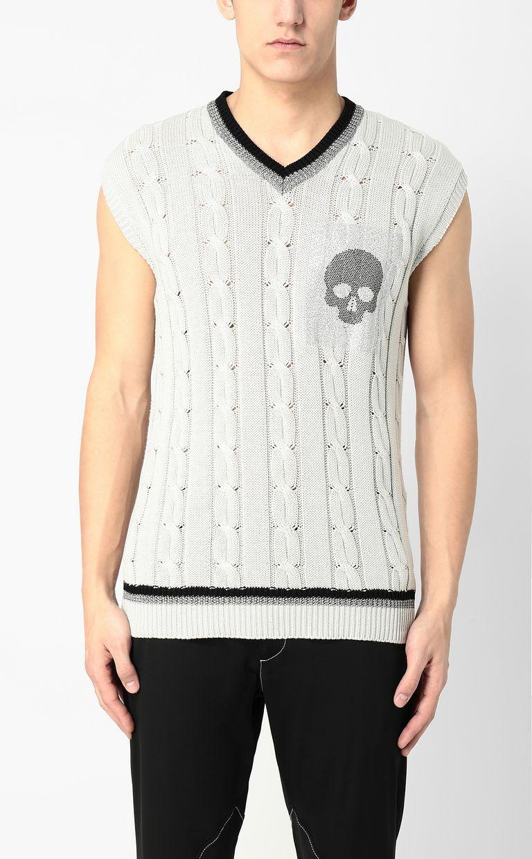 JUST CAVALLI Pullover with skull V-neck Man r