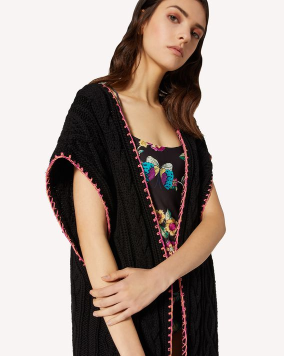REDValentino Cotton maxi cardigan with Bird of Paradise in the Forest jacquard detail