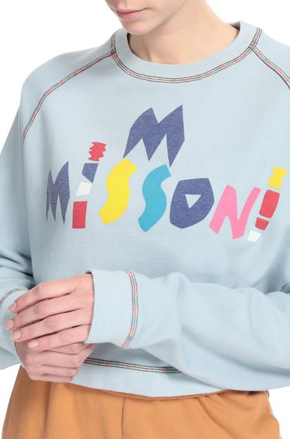 M MISSONI Sweatshirt Sky blue Woman - Front