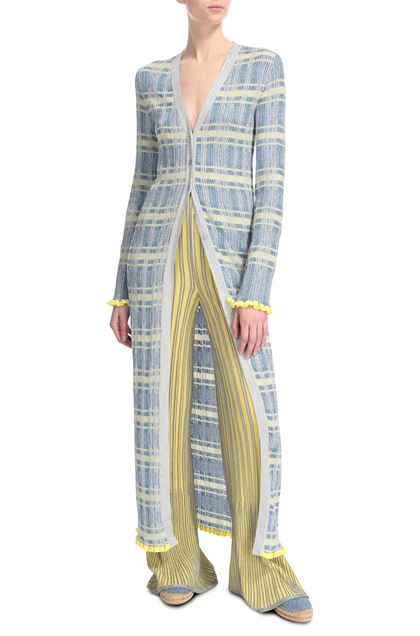 M MISSONI Long cardigan Pastel blue Woman - Back