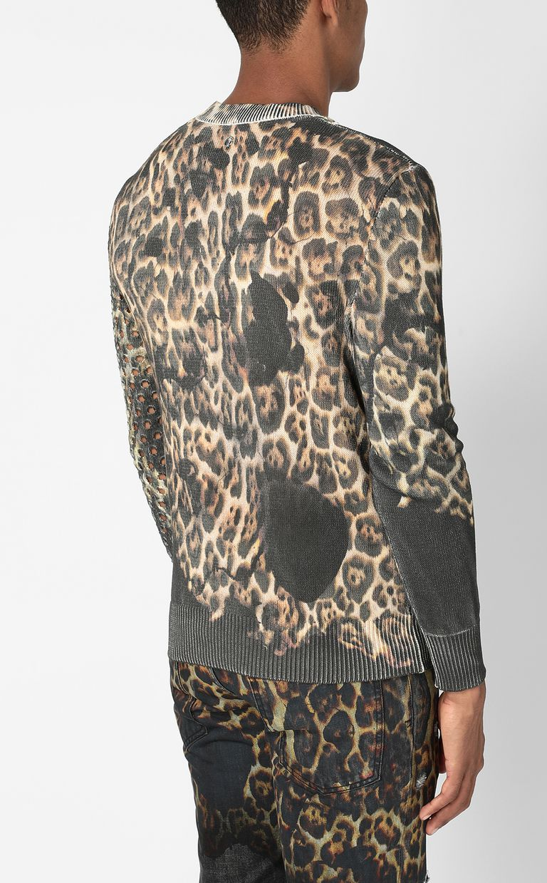 "JUST CAVALLI ""Burning Leo""-print pullover Crewneck sweater Man a"