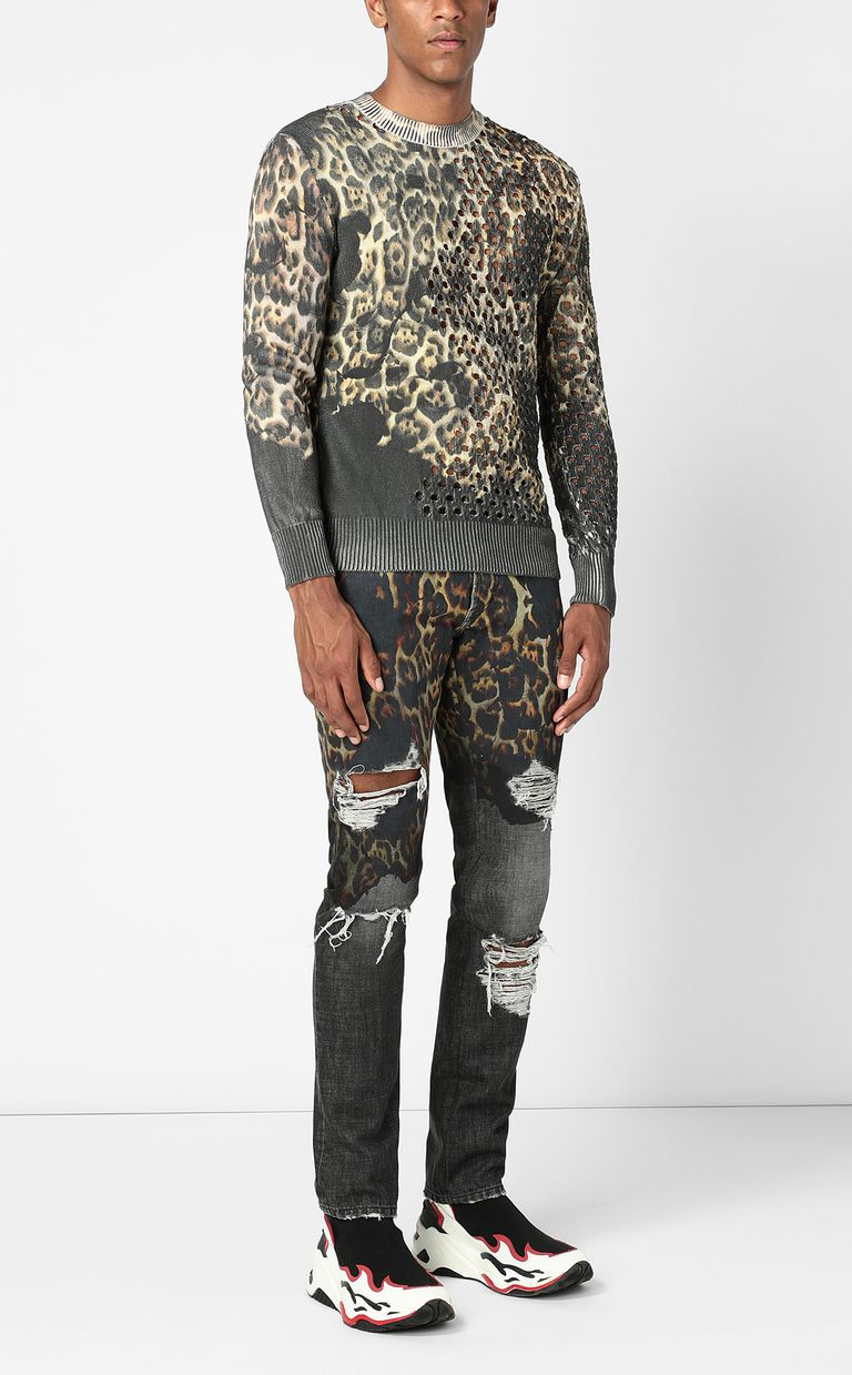 "JUST CAVALLI ""Burning Leo""-print pullover Crewneck sweater Man d"