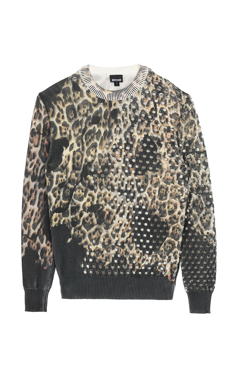 "JUST CAVALLI ""Burning Leo""-print pullover Crewneck sweater Man f"