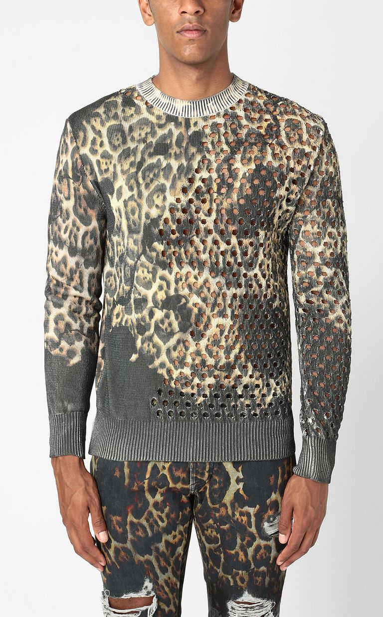"JUST CAVALLI ""Burning Leo""-print pullover Crewneck sweater Man r"