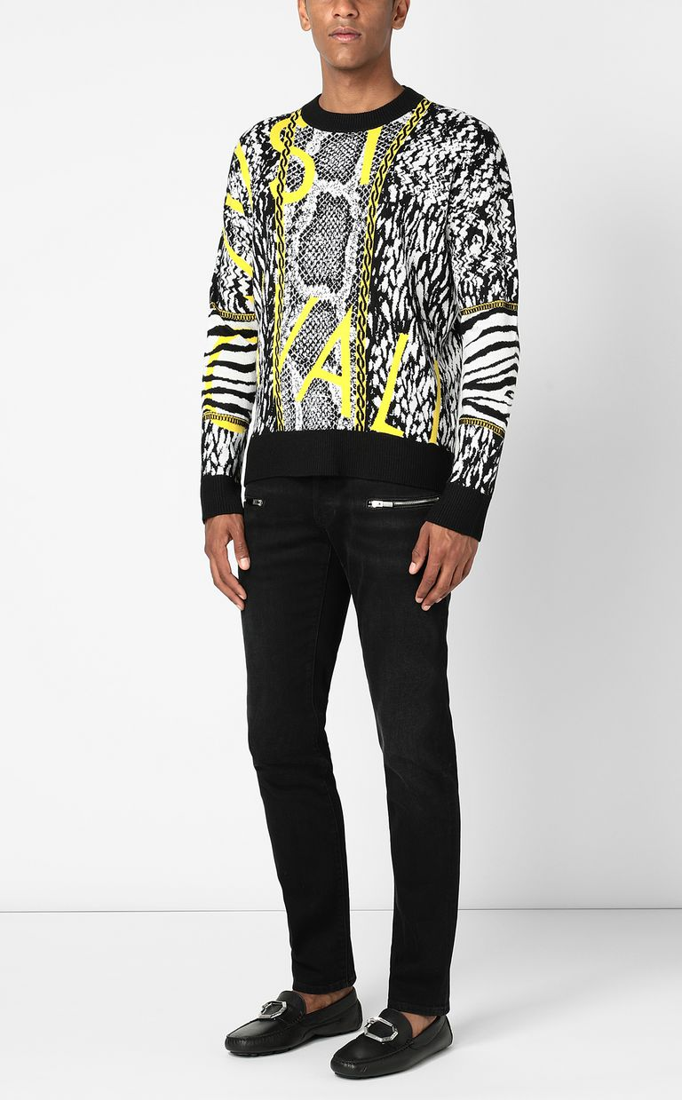 JUST CAVALLI Pullover with Fur-Python-mix motif Crewneck sweater Man d