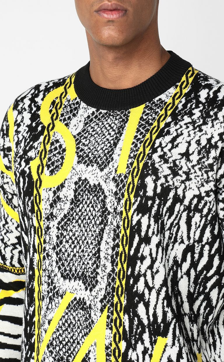JUST CAVALLI Pullover with Fur-Python-mix motif Crewneck sweater Man e