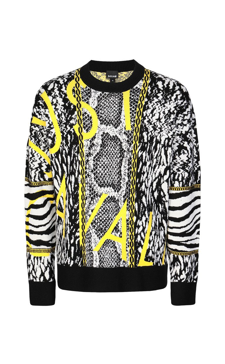 JUST CAVALLI Pullover with Fur-Python-mix motif Crewneck sweater Man f
