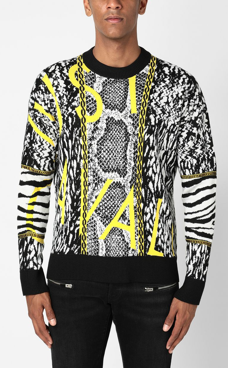 JUST CAVALLI Pullover with Fur-Python-mix motif Crewneck sweater Man r