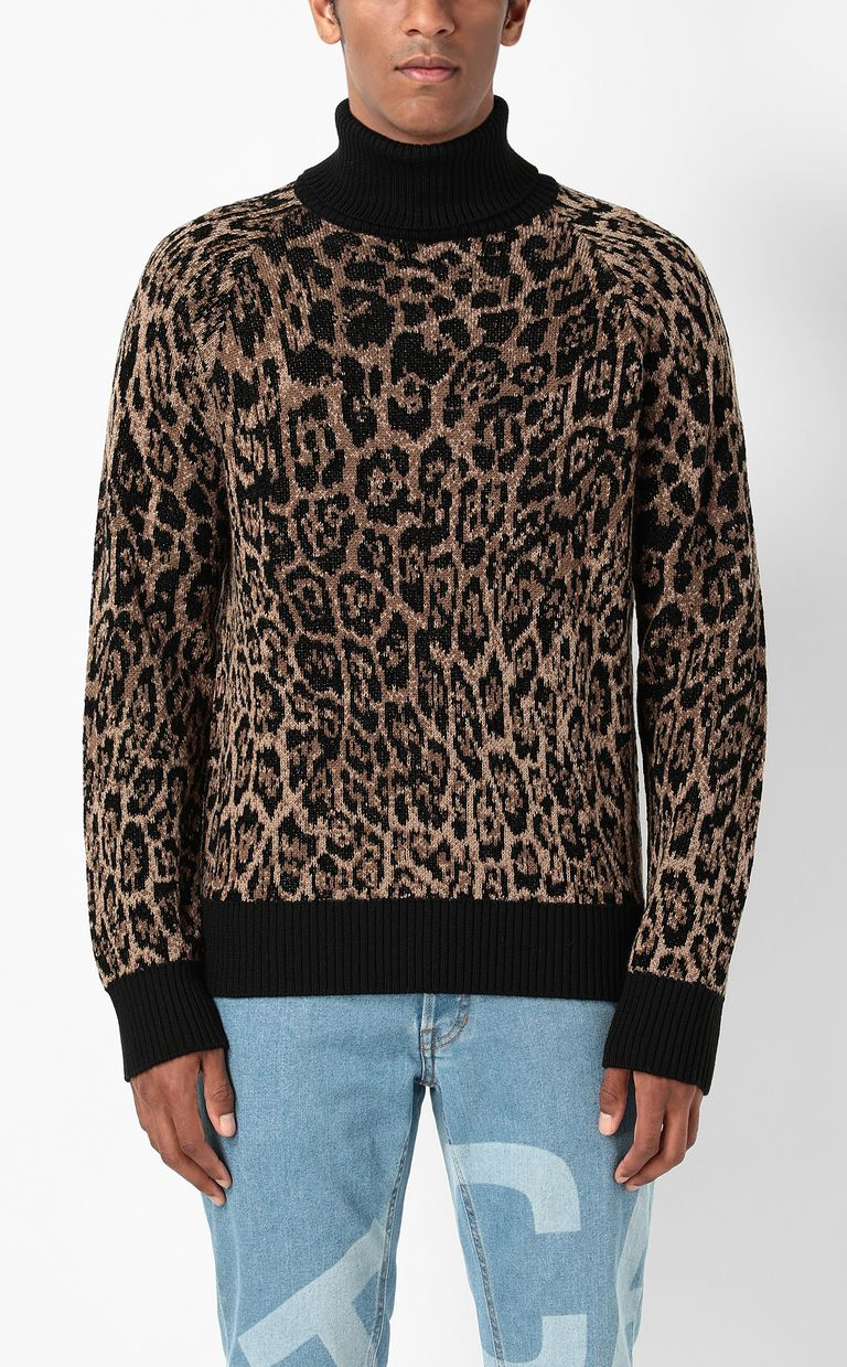 JUST CAVALLI Sweater with Dancing-Leo motif High neck sweater Man r