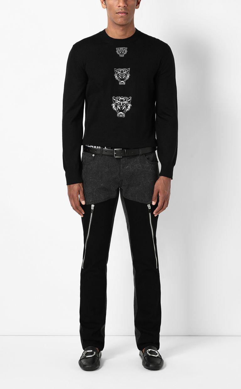 JUST CAVALLI Pullover with Tiger-Knocker detail Crewneck sweater Man d