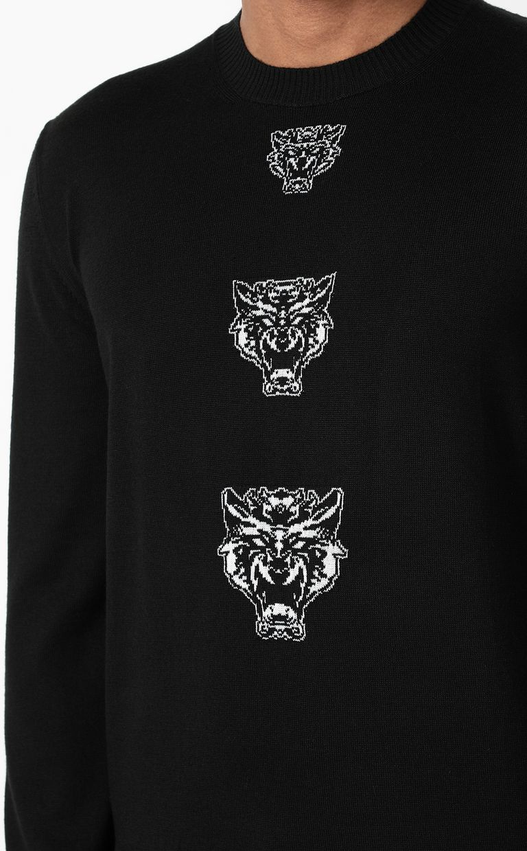 JUST CAVALLI Pullover with Tiger-Knocker detail Crewneck sweater Man e