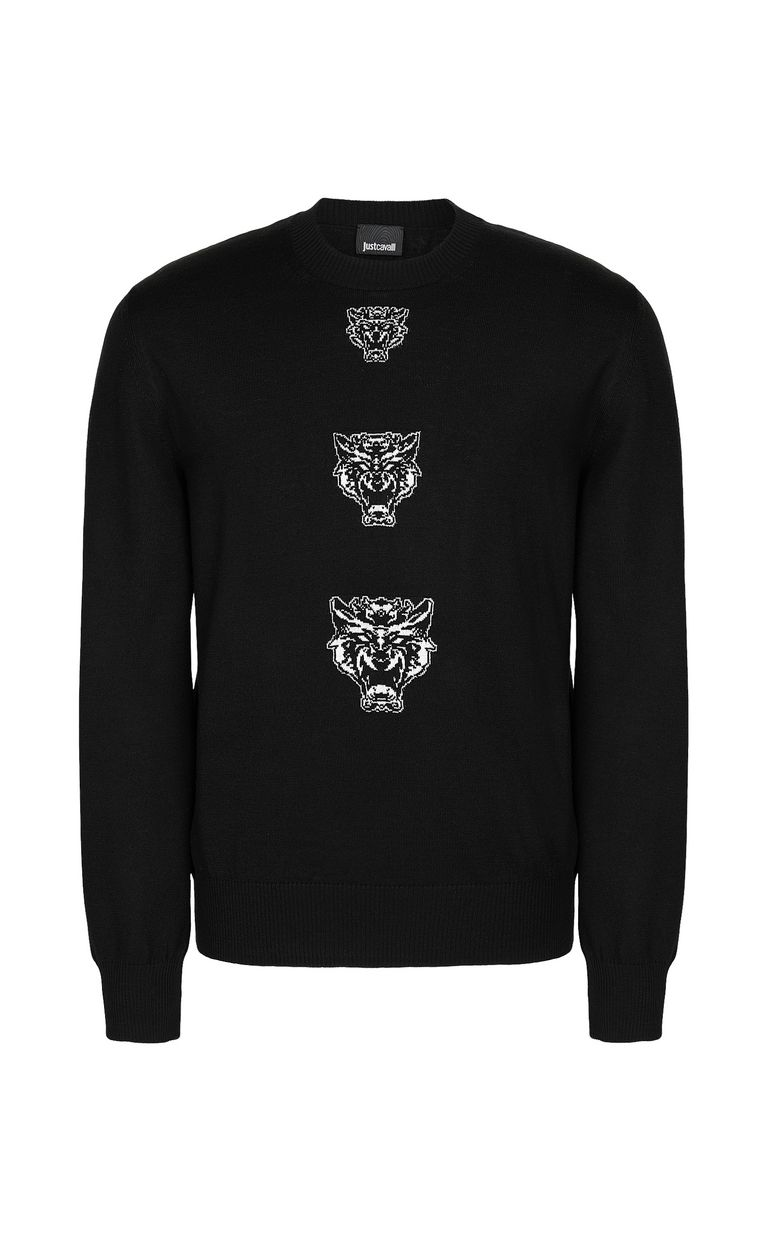 JUST CAVALLI Pullover with Tiger-Knocker detail Crewneck sweater Man f
