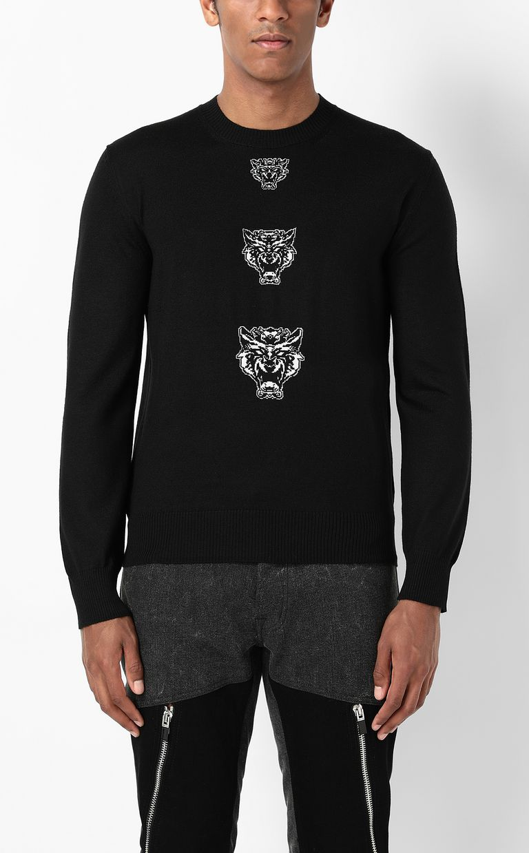 JUST CAVALLI Pullover with Tiger-Knocker detail Crewneck sweater Man r