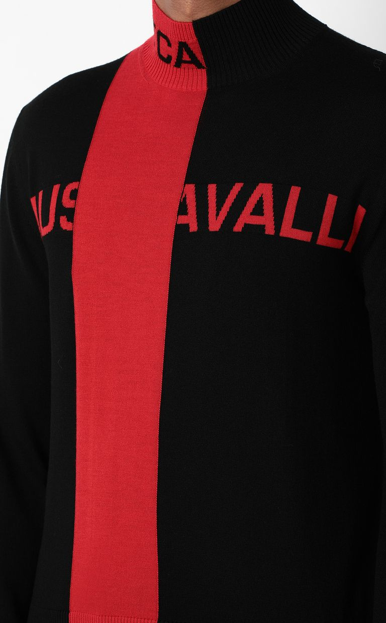 JUST CAVALLI Pullover with logo High neck sweater Man e