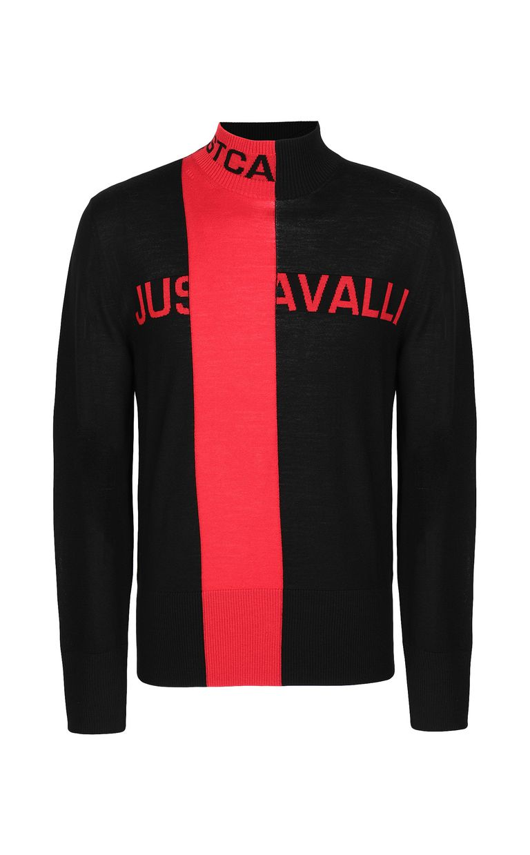 JUST CAVALLI Pullover with logo High neck sweater Man f