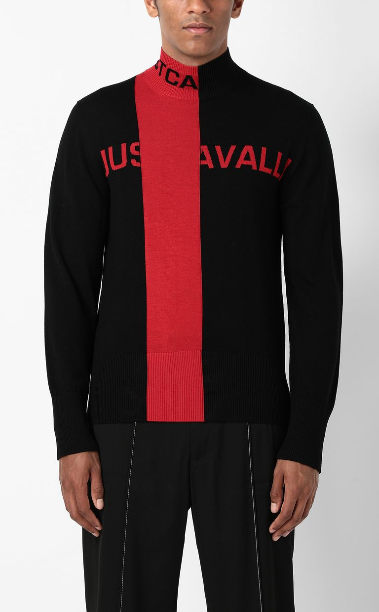 JUST CAVALLI Pullover with logo High neck sweater Man r