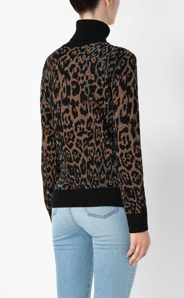 JUST CAVALLI Pullover with leopard-spot pattern High neck sweater Woman a
