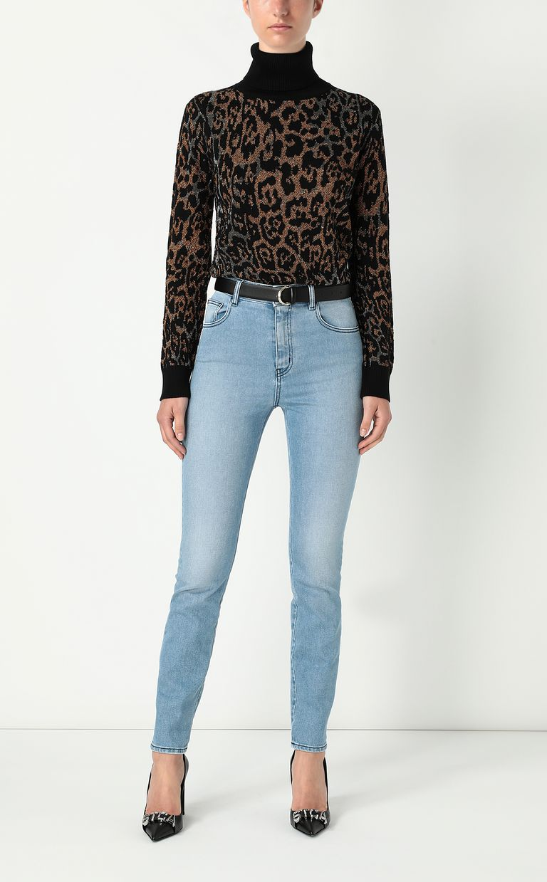 JUST CAVALLI Pullover with leopard-spot pattern High neck sweater Woman d