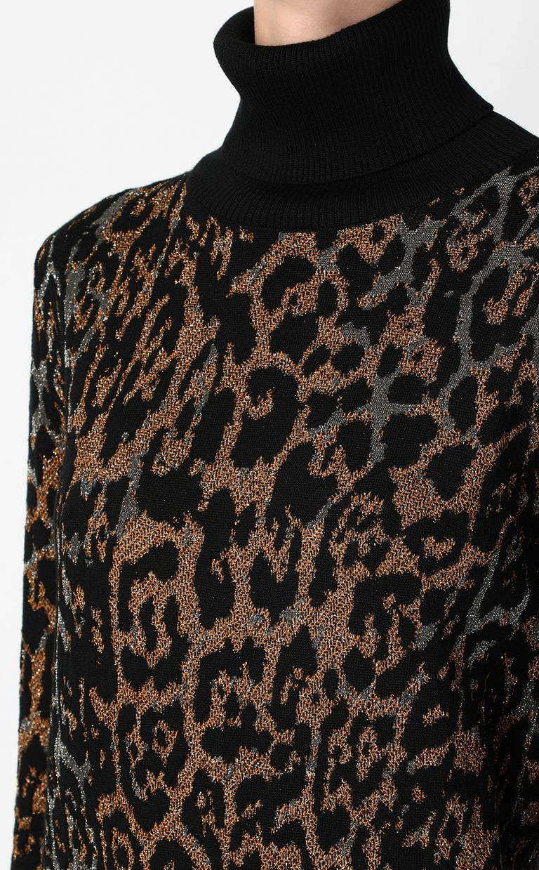 JUST CAVALLI Pullover with leopard-spot pattern High neck sweater Woman e