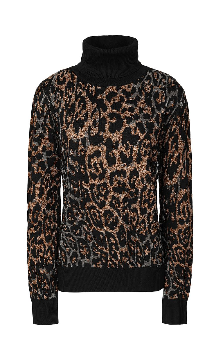 JUST CAVALLI Pullover with leopard-spot pattern High neck sweater Woman f