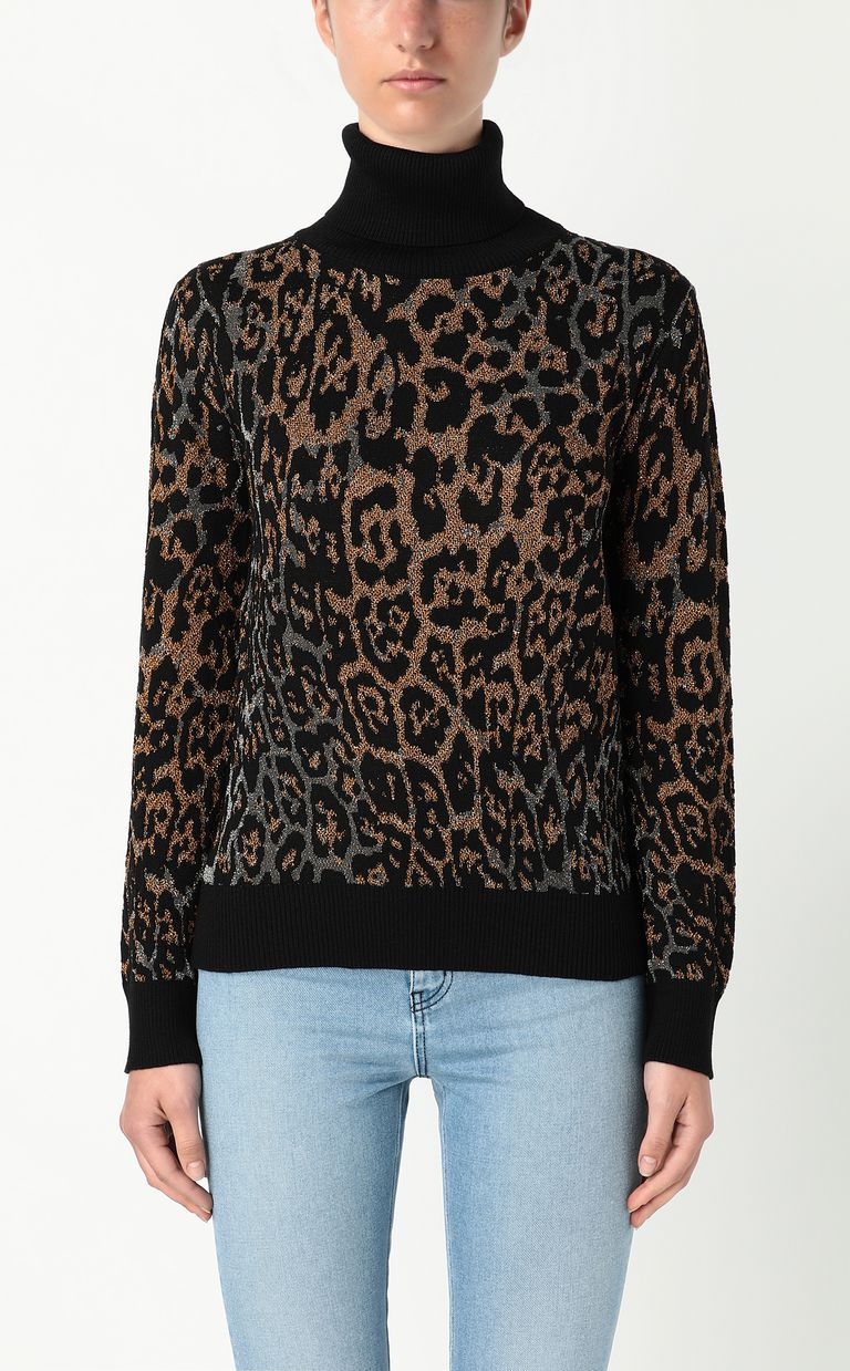 JUST CAVALLI Pullover with leopard-spot pattern High neck sweater Woman r