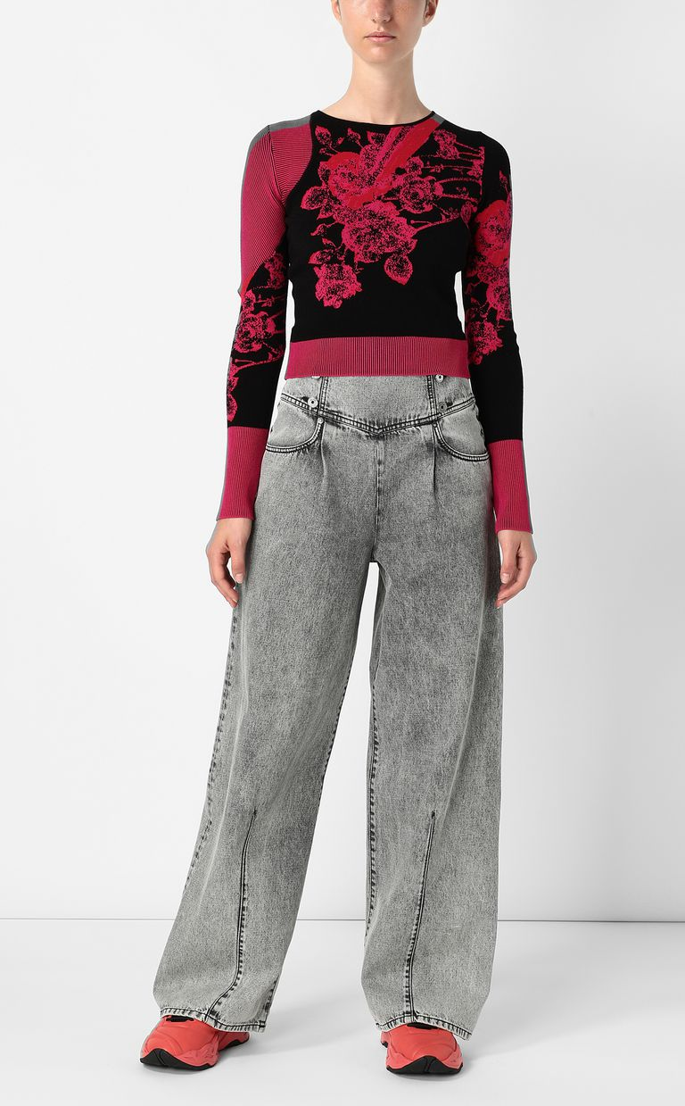 JUST CAVALLI Moving-Roses-print pullover Sweater Woman d
