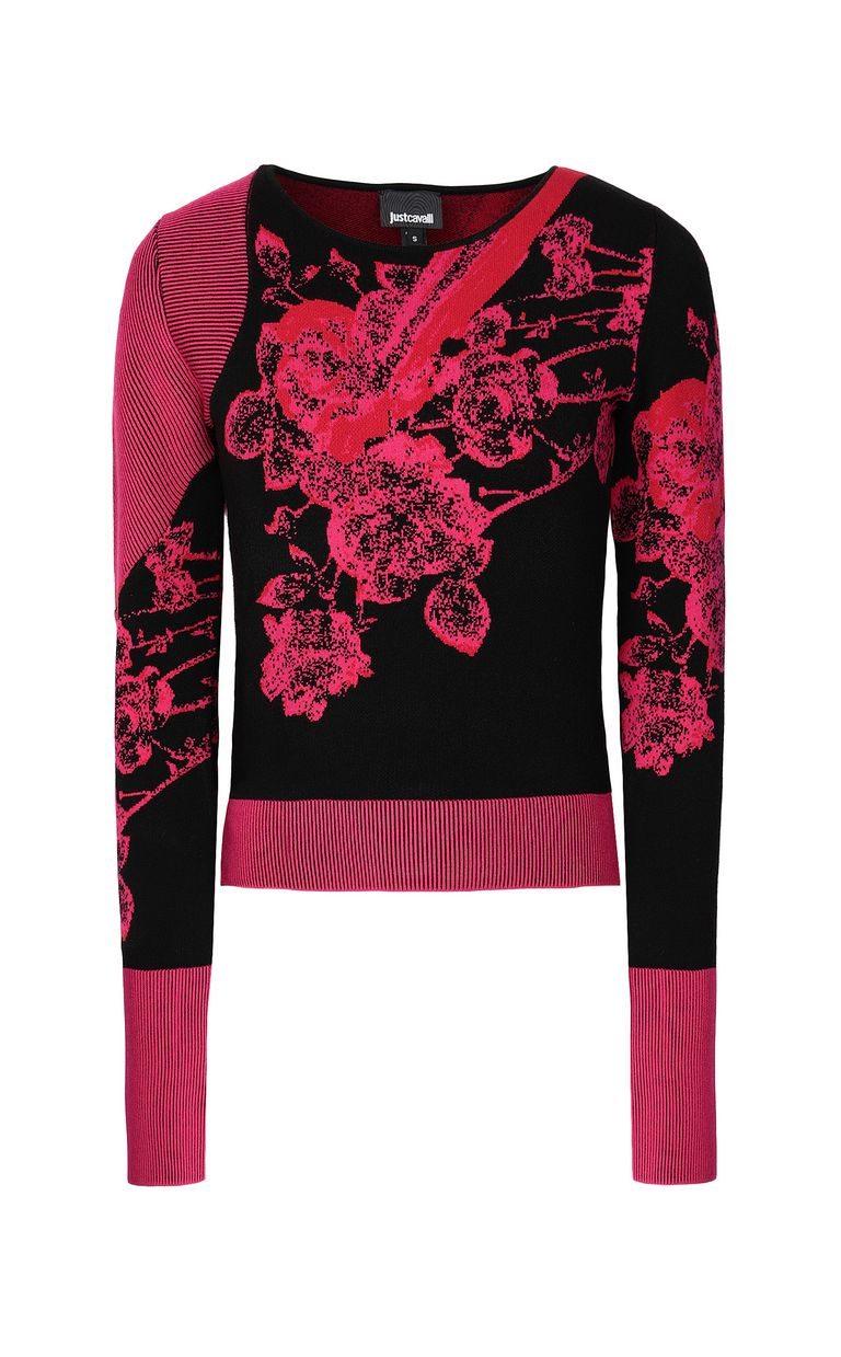 JUST CAVALLI Moving-Roses-print pullover Sweater Woman f