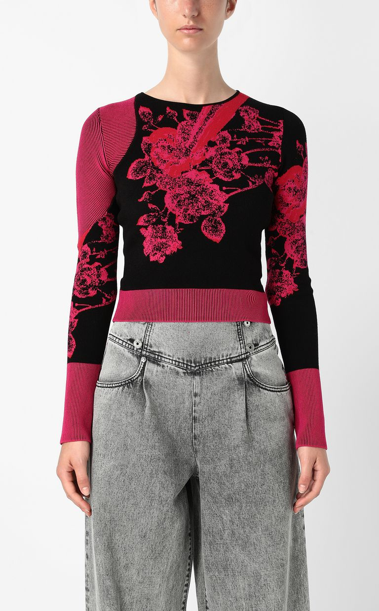 JUST CAVALLI Moving-Roses-print pullover Sweater Woman r
