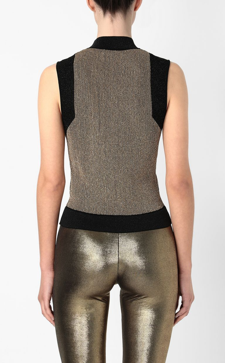 JUST CAVALLI Knitted top with gold details Sleeveless sweater Woman a