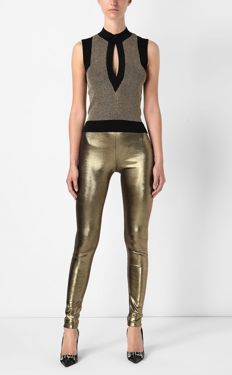 JUST CAVALLI Knitted top with gold details Sleeveless sweater Woman d