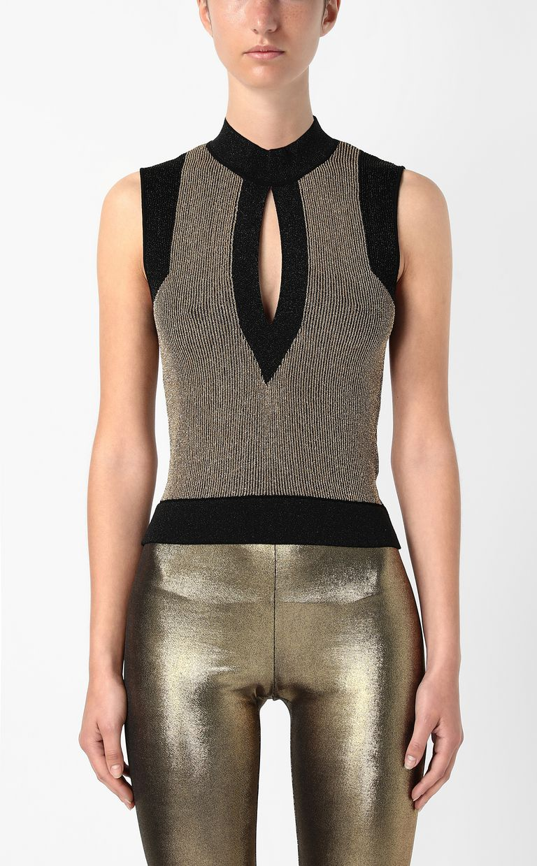 JUST CAVALLI Knitted top with gold details Sleeveless sweater Woman r